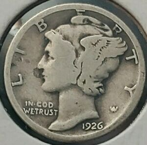 CIRCULATED 1926 P MERCURY SILVER  DIME