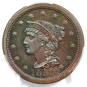 Click now to see the BUY IT NOW Price! 1850 N 11 R 7 PCGS PR 64 BN BRAIDED HAIR LARGE CENT COIN 1C