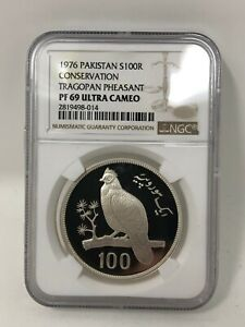 Click now to see the BUY IT NOW Price! 1976 PAKISTAN 100 RUPEES CONSERVATION TRAGOPAN PHEASANT NGC PF69 ULTRA CAMEO