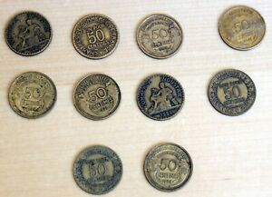 FRANCE: LOT OF 10 DIFFERENT 50 CENTIMES COINS 1922 1941