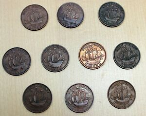 LOT OF 10 DIFFERENT GREAT BRITAIN 1/2 PENNY COINS 1937 1952 GEORGE VI