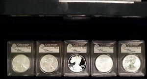 2011 5 COIN SILVER EAGLE 25TH ANNIVERSARY SET PCGS MS/PR70 FIRST STRIKE MERCANTI