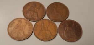 90563   GREAT BRITAIN LOT OF 5 1920 TO 1967 ONE  PENNY