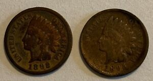 1892 & 1895 INDIAN HEAD ONE CENT ERROR CLOSED 9. 2 COINS
