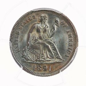 1891 SEATED LIBERTY 10C PCGS CERTIFIED MS65 ATTRACTIVE COLORFULLY TONED SURFACES