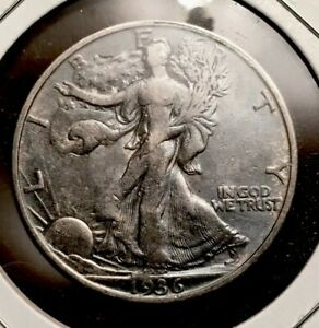 Click now to see the BUY IT NOW Price! 1936 WALKING LIBERTY HALF DOLLAR SILVER US COIN BLUE TONE