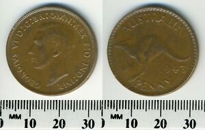 AUSTRALIA 1943  M     1 PENNY BRONZE COIN   KING GEORGE VI   WWII MINTAGE