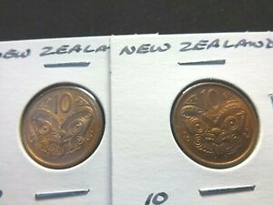 NEW ZEALAND  LOT X 2  2006 & 2009 10 CENTS   MAORI MASK  COIN 20.5 MM