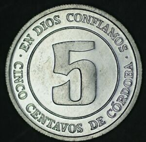 1974 5 CENTAVOS NICARAGUA    FAO SERIES COIN   KM28   LOWER MINTAGE VERSION