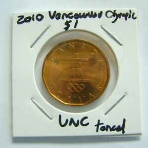 CANADA 2010 VANCOUVER OLYMPIC $1 LOONIE UNC BRASS TONED