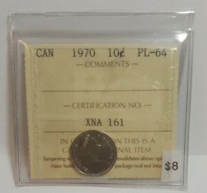 1970 CANADA 10 CENTS GRADED ICCS PL 64