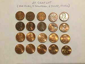 US CANADIAN CENTS LOT 20 COINS   SOME NEW SOME TONED SOME CANADIAN EURO