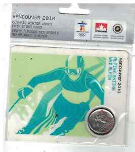 2010 VANCOUVER OLYMPICS 25 CENTS COLOURED COIN ALPINE SKIING