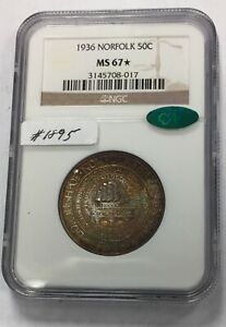 1936 NORFOLK 50C  1895  NGC MS67  CAC NICELY TONED.