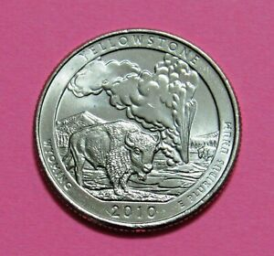 2010 P 25C YELLOWSTONE WYOMING NATIONAL PARKS AMERICA THE BEAUTIFUL QUARTER