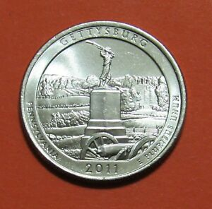 2011 P 25C GETTYSBURG PENNSYLVANIA NATIONAL PARKS AMERICA THE BEAUTIFUL QUARTER