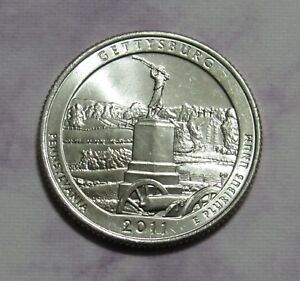 2011 D 25C GETTYSBURG PENNSYLVANIA NATIONAL PARKS AMERICA THE BEAUTIFUL QUARTER