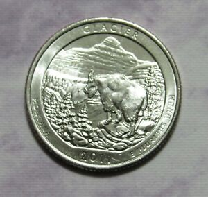 2011 P 25C GLACIER MONTANA NATIONAL PARKS AMERICA THE BEAUTIFUL QUARTER