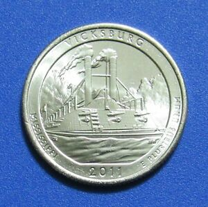 2011 P 25C VICKSBURG MISSISSIPPI NATIONAL PARKS AMERICA THE BEAUTIFUL QUARTER