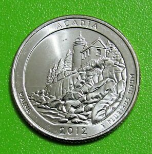 2012 P 25C ACADIA MAINE   NATIONAL PARKS   AMERICA THE BEAUTIFUL QUARTER