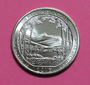 2013 D 25C WHITE MOUNTAIN NEW HAMPSHIRE NATIONAL PARKS AMERICA BEAUTIFUL QUARTER