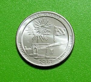 2013 P 25C FORT MCHENRY MARYLAND NATIONAL PARKS AMERICA THE BEAUTIFUL QUARTER