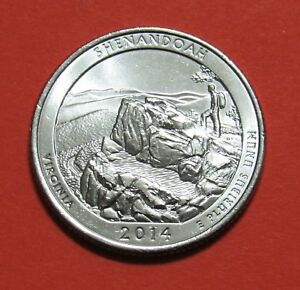 2014 P 25C SHENANDOAH VIRGINIA NATIONAL PARKS AMERICA THE BEAUTIFUL QUARTER