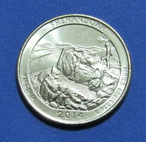 2014 D 25C SHENANDOAH VIRGINIA NATIONAL PARKS AMERICA THE BEAUTIFUL QUARTER