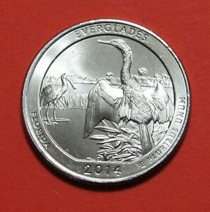 2014 P 25C EVERGLADES FLORIDA NATIONAL PARKS AMERICA THE BEAUTIFUL QUARTER