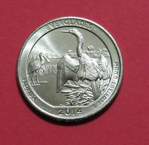 2014 D 25C EVERGLADES FLORIDA NATIONAL PARKS AMERICA THE BEAUTIFUL QUARTER
