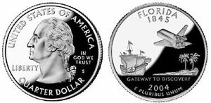 2 COINS   2004 S FLORIDA SILVER PROOF 25C CAMEO  SPANISH GALLEON  QUARTERS  SH4