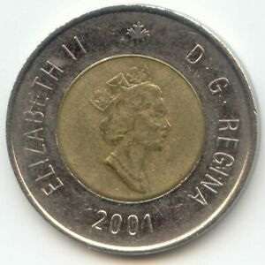 CANADA 2001 TOONIE CANADIAN 2 DOLLAR $2 TWO DOLLAR EXACT COIN SHOWN