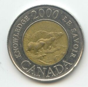CANADA 2000 KNOWLEDGE TOONIE CANADIAN $2 DOLLARS TWO DOLLAR LE SAVOIR EXACT COIN