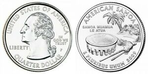 2009 P AMERICAN SAMOA TERRITORIAL QUARTER BU FROM ORIGINAL BANK BAGS