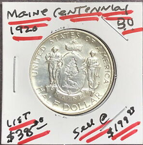 1920 USA MAINE CENTENNIAL 1820 1920 COMMEMORATIVE 90  SILVER   GEM BU BELOW LIST