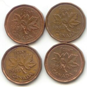 CANADA 1983 1984 1985 1986 PENNIES CANADIAN 1 CENT 1C PENNY SET EXACT COINS