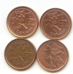 CANADA 2001 2002 2003 2004 PENNIES CANADIAN 1 CENT 1C EXACT SET SHOWN