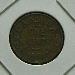 1931 CIRCULATED CANADIAN CANADA PENNY 1 ONE CENT MAPLE LEAFS GEORGE V