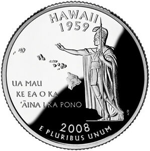 2008 S SILVER GEM PROOF HAWAII STATE QUARTER 90  SILVER