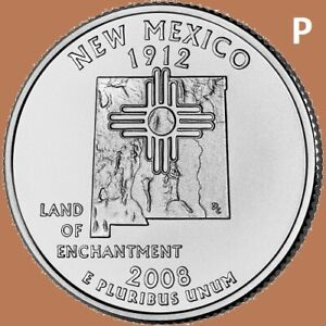 2008 P NEW MEXICO QUARTER 50 STATE STATEHOOD   UNC 2ND
