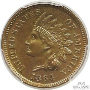 1864 INDIAN HEAD CENT PENNY 01C COIN CERTIFIED PCGS L ON RIBBON UNC DETAIL 13291