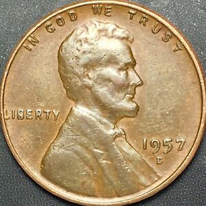 1957 D LINCOLN WHEAT CENT DIE CHIP FILLED B OBVERSE ERROR LWC PENNY 1C
