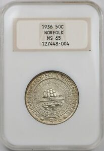 1936 NORFOLK COMMEMORATIVE HALF. OLD NGC MS65. HOLDER IN EXCELLENT CONDITION.