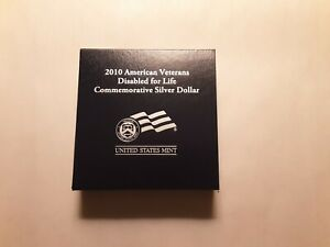 2010 AMERICAN VETERANS DISABLED FOR LIFE COMMEMORATIVE PROOF SILVER DOLLAR W OGP