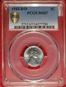 Click now to see the BUY IT NOW Price! 1943 D/D 1C PCGS MS 67 DRAMATIC RPM LINCOLN STEEL CENT VARIETY POP 8/1 REGISTRY