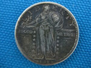 1918 UNITED STATES SILVER STANDING LIBERTY QUARTER 25C COIN
