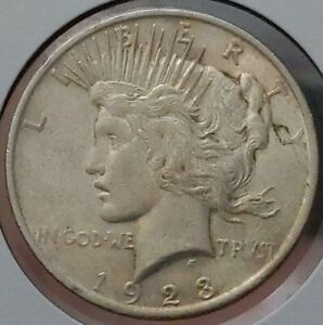 EARLY   1923 P   PEACE SILVER DOLLAR   90  US COIN 1850