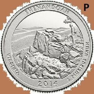 2014 P SHENANDOAH QUARTER NATIONAL PARK ATB  UNC UNCIRCULATED 2ND STAINS