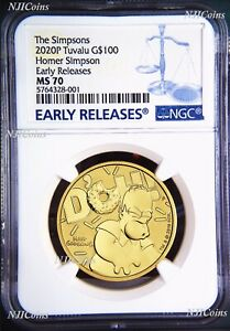 Click now to see the BUY IT NOW Price! 2020 HOMER SIMPSON $100 1OZ .9999 GOLD BULLION COIN NGC MS70 EARLY RELEASES