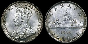 CANADA GEORGE V SILVER DOLLAR 1936. STRONG MINT LUSTER.